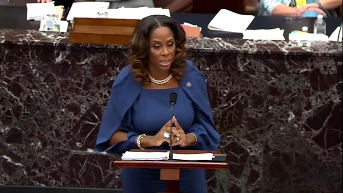 Del. Stacey Plaskett speaks on the second day of former President Donald Trumps second impeachment trial at the US Capitol.