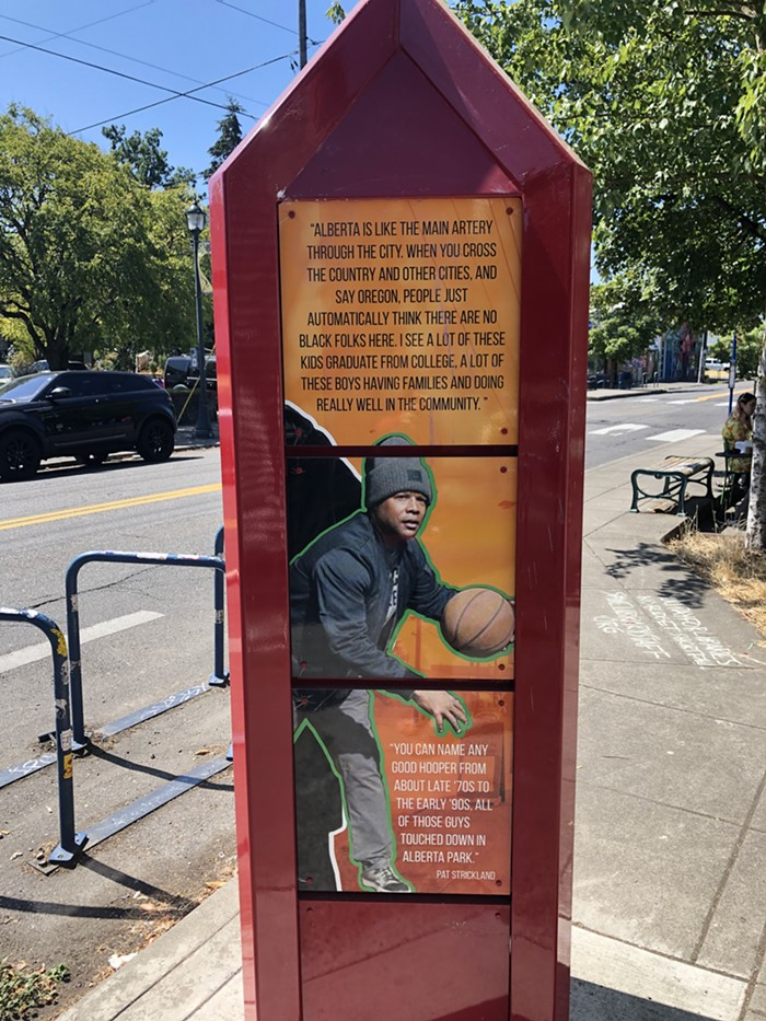 One of several markers on NE Alberta St. sharing stories about the historically Black neighborhood