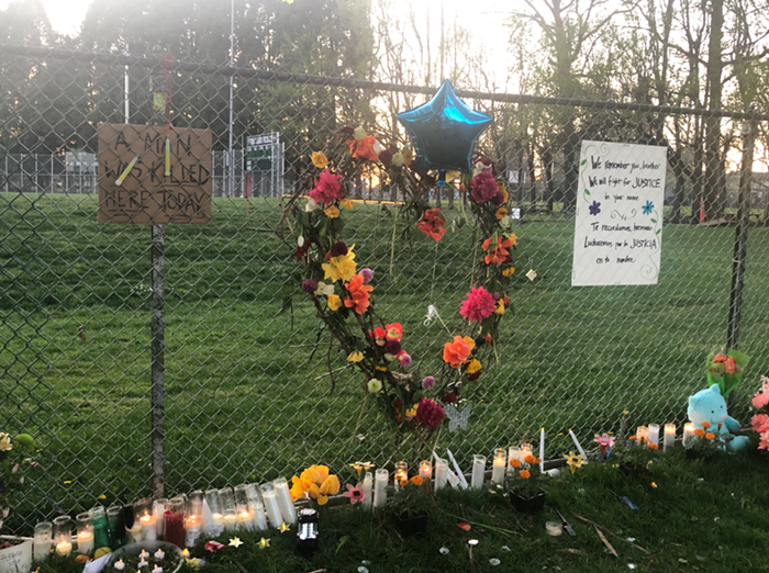 A memorial for  Robert Delgado who was killed by Portland police in Lents Park on Friday.