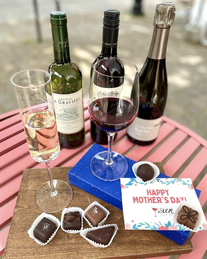 Treat your mother figure to a luxurious chocolate and wine flight from Stem Wine Bar for Mothers Day.