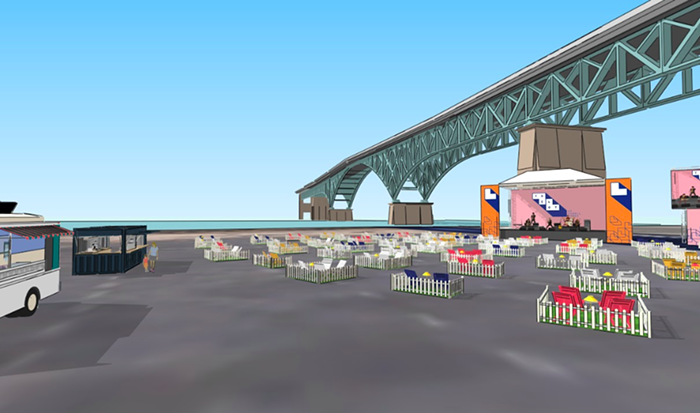A rendering of the Lot at Zidell Yards