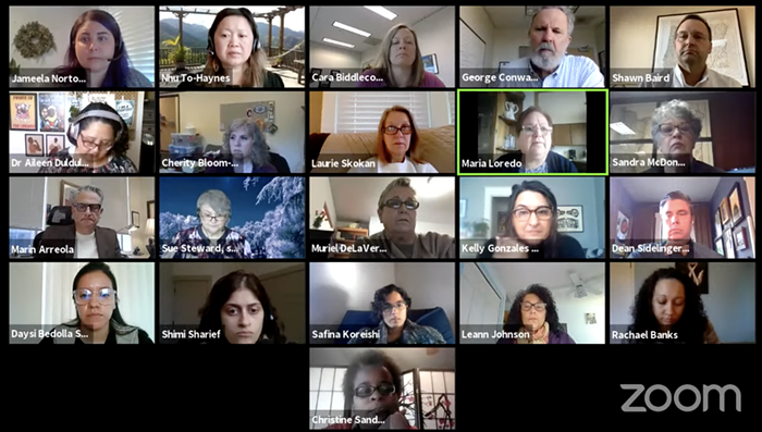 A screenshot of a Zoom meeting featuring over a dozen people.