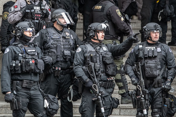 RRT officers gathered at a protest in downtown Portland in February 2020.