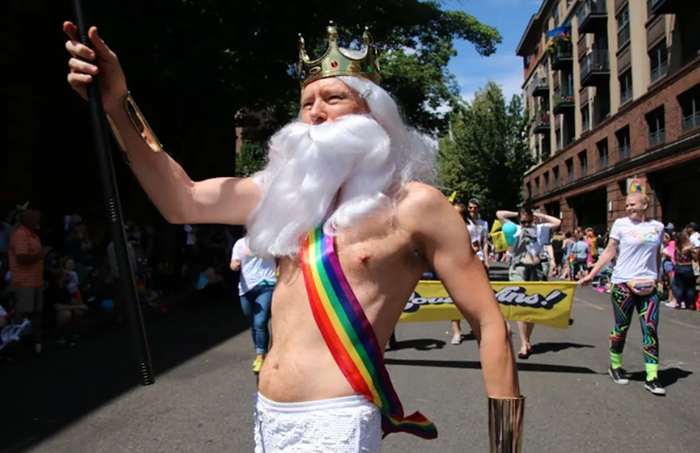 The author celebrating Pride in his own distinct manner during Portlands Pride parade, circa 2019. Good times... good times.