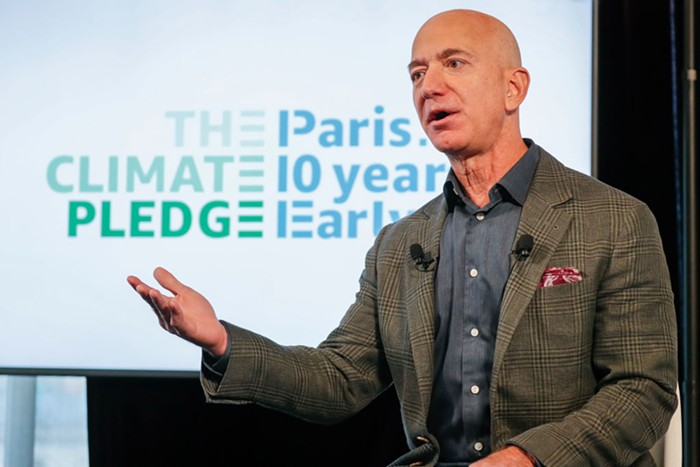 Jeff Bezos speaking at a panel in 2019.