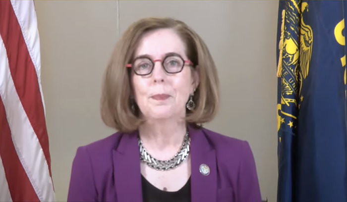 Gov.Kate Brown announcing the new mask mandate yesteday.