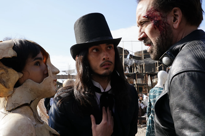 Sofia Boutella as Bernice, Jai West as Jay and Nicolas Cage as Hero in PRISONERS OF THE GHOSTLAND.