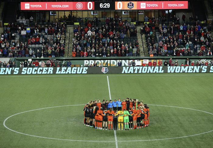 Thorns players protested on social media and on the field last night.