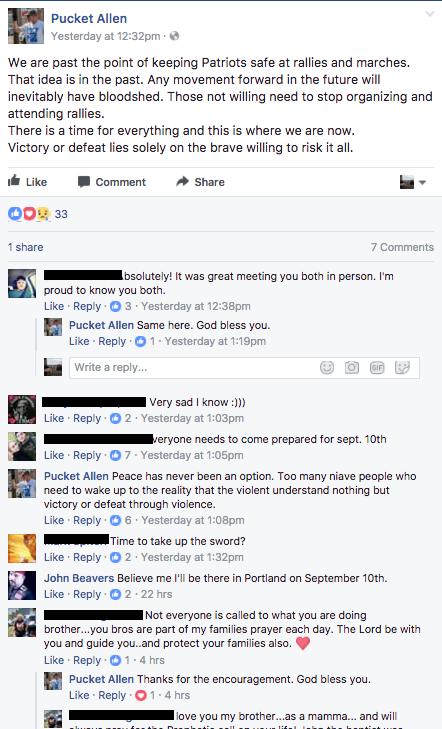 Patriot Prayer supporter and bigoted street preacher Allen Pucket said this last week