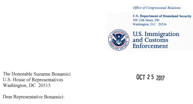 An ICE official responded to Rep. Suzanne Bonamici