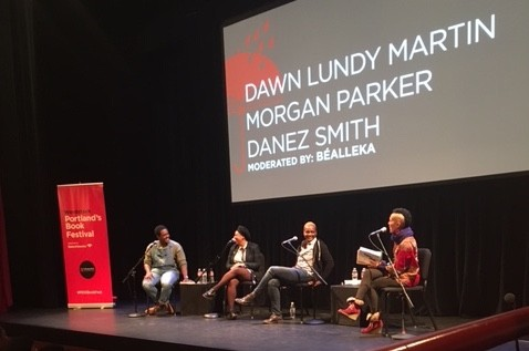 Danez Smith, Morgan Parker, Dawn Lundy Martin, and Béalleka at the Winningstad Theatre