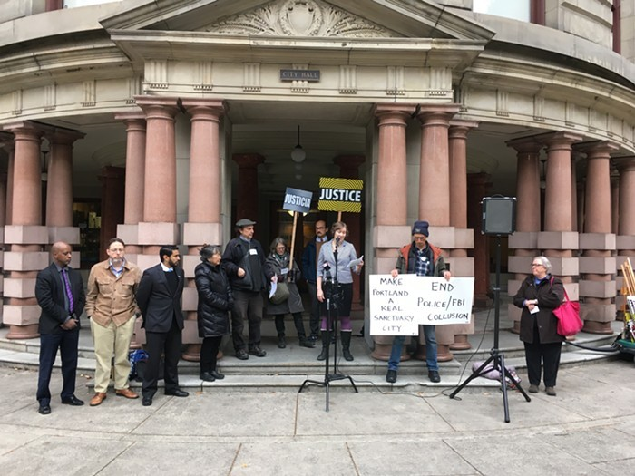 Groups including the Oregon ACLU, CAIR Oregon, and Portland Copwatch call on the city to nix JTTF involvement last week.