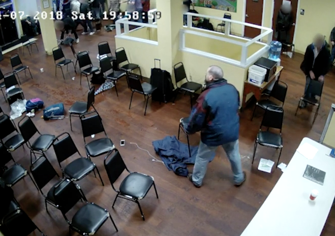 John Elifritz inside the Cityteam shelter, shortly before being fatally shot by police. Still from video caught on the shelters surveillance camera.