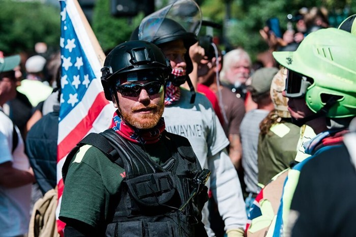 Members of Patriot Prayer at the August 4, 2018 protest.