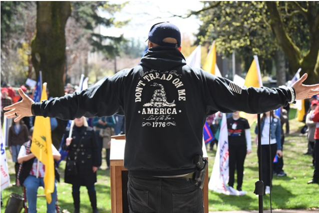 Joey Gibson speaking at a pro-Trump rally he organized in 2017.
