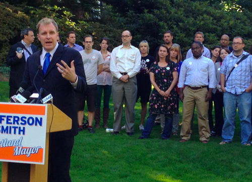 Jefferson Smith during his 2012 campaign for Portland mayor.