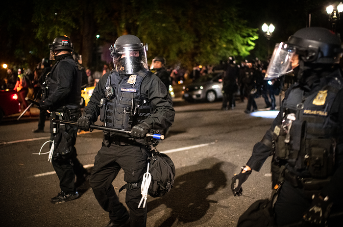 Portland police responding to a 2020 protest against police brutality.