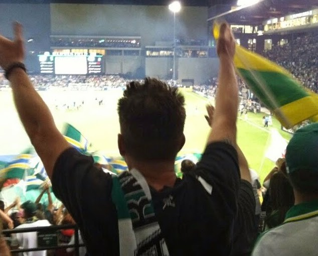 Kevin Jolly in Section 208 during a Timbers match.