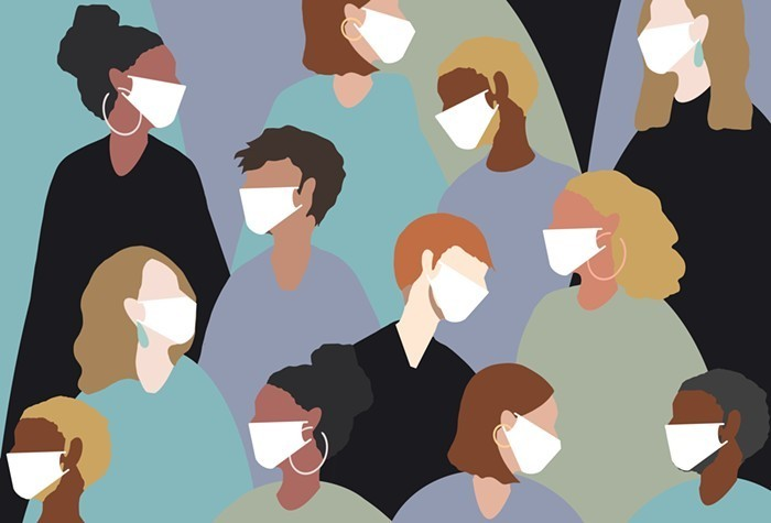 Drawings of a variety of people wearing masks.