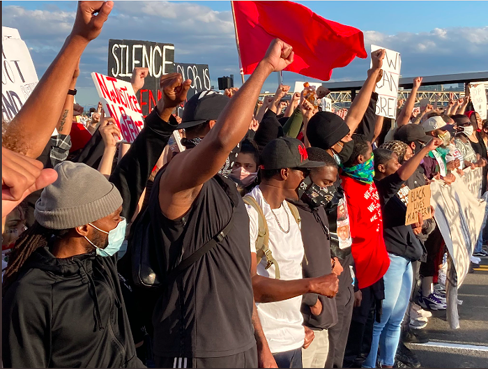 Protesters march across the Morrison Bridge demonstrating against the police murder of George Floyd, June 3, 2020.