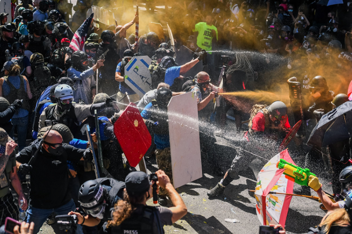 A scene from an August 22, 2020 street fight between antifascists and right-wing groups in downtown Portland.