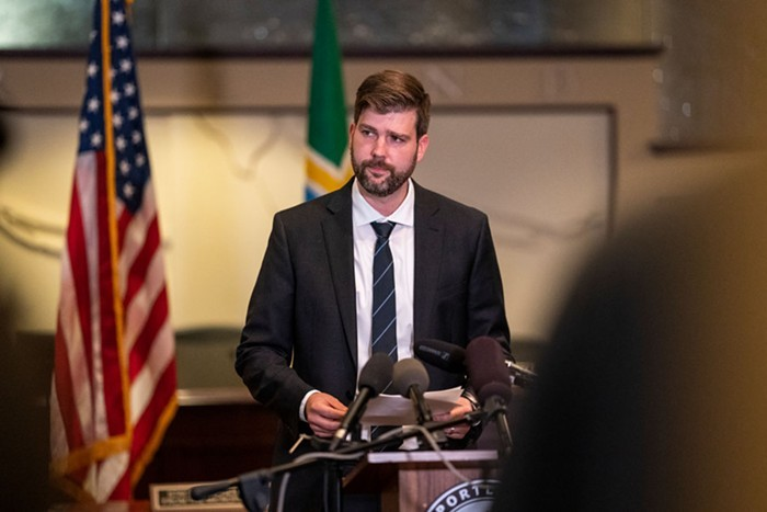 Multnomah County District Attorney Mike Schmidt at a 2020 press conference.