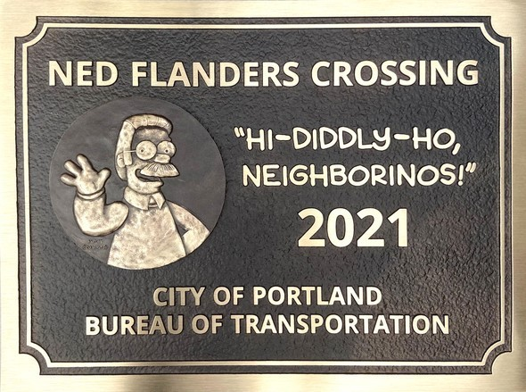 Timeline cleanser: The Flanders pedestrian crossing has been renamed after a certain character from the Simpsons.