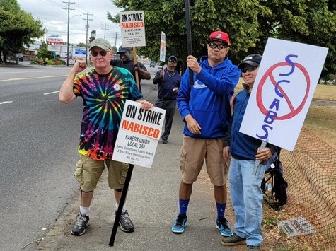 Nabisco workers picket outside of Northeast Portlands Nabisco factory in August.