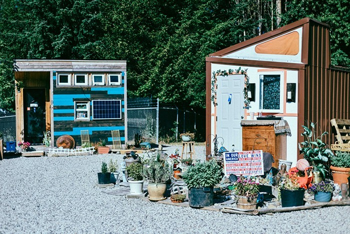 Tiny homes at Kenton Womens Village, one of several alternative outdoor shelters currently operating in Portland.