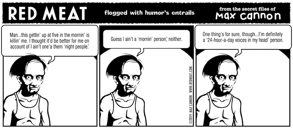 flogged with humor's entrails
