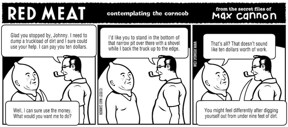 contemplating the corncob