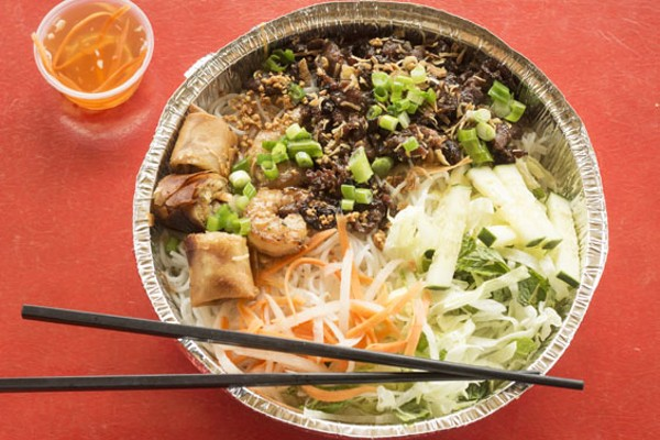Combination vermicelli bowl with grilled pork, grilled shrimp and egg rolls. - MABEL SUEN