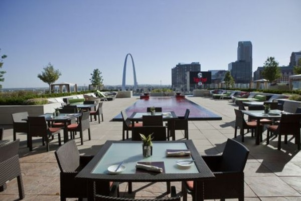 The patio at Cielo, eight stories above downtown St. Louis. - PHOTO BY LAURA MILLER