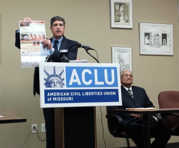 ACLU's executive director Jeffrey Mittman and former Pine Lawn mayor Adrian Wright. - JESSICA LUSSENHOP
