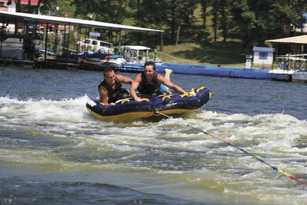 Courtesy Brody Baumann - BRANDON ELLINGSON (LEFT, WITH FRIEND BRODY BAUMANN) AT THE LAKE OF THE OZARKS IN 2012, TWO YEARS BEFORE HIS TRAGIC DROWNING DEATH.