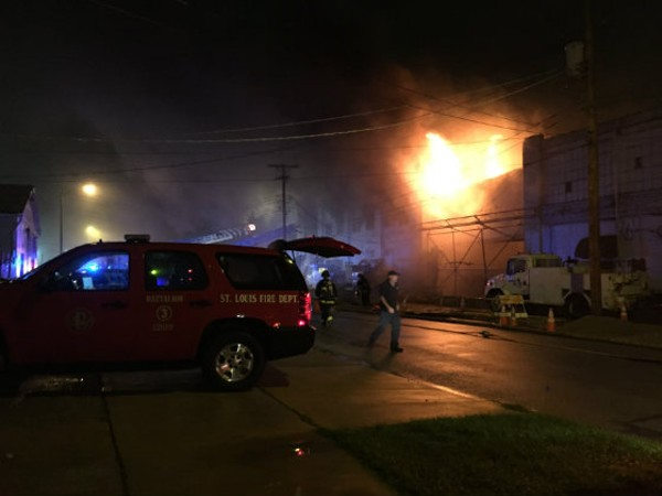 The fire engulfed a warehouse on Daggett Avenue. - PHOTO BY JAIME LEES