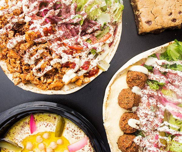 Hummus, falafel on pita, chicken shawarma, beef shawarma and a blondie. - MABEL SUEN