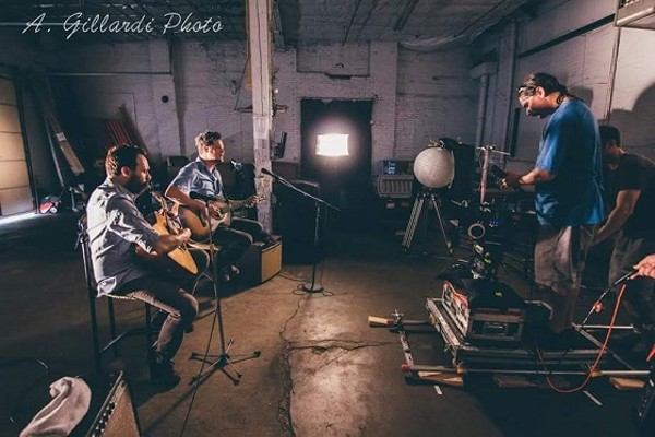 The Fog Lights, in the midst of the video shoot with director Justin Hayward.