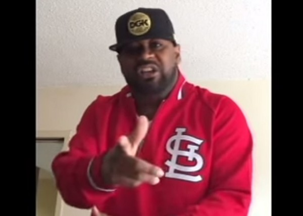 Big Ghost reppin' Cardinal Nation - SCREENSHOT FROM VIDEO EMBEDDED BELOW.