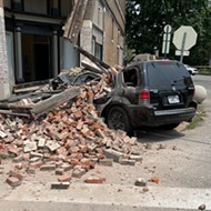 SUV Takes Out Corner of Tower Grove East Building