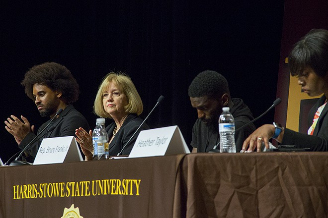 St. Louis Mayor Lyda Krewson faced harsh questions about the police department earlier this month at a town hall meeting at Harris-Stowe. - DANNY WICENTOWSKI
