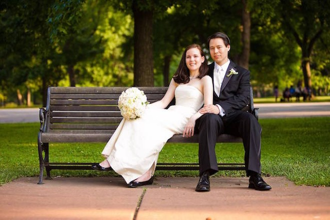 Sarah Frambach and Wes Dickerson met in St. Louis and were married in Tower Grove Park. - PHOTO VIA KEITHLEE STUDIOS