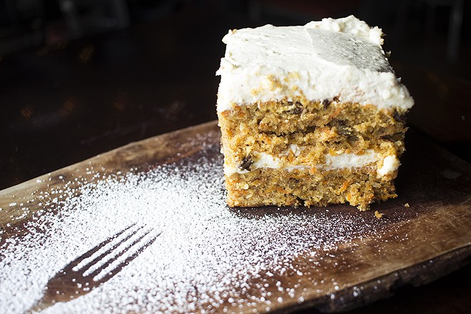 For dessert, Charleville offers carrot cake with cream-cheese icing. - PHOTO BY MABEL SUEN