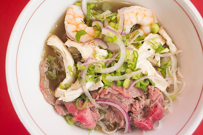 "The ""Pho Shizzle"" features beef, chicken and shrimp. - MABEL SUEN"