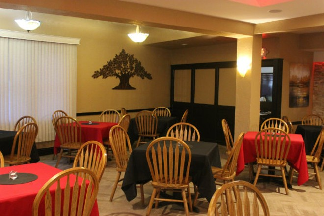The cozy dining room is welcoming to families. - CHERYL BAEHR