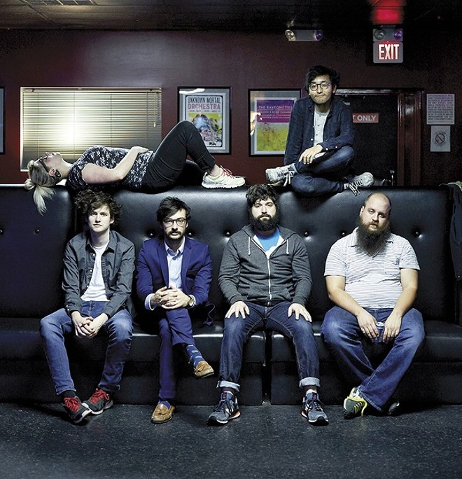 Foxing. Josh Coll is on the bottom, third from the left. - PHOTO BY THEO WELLING