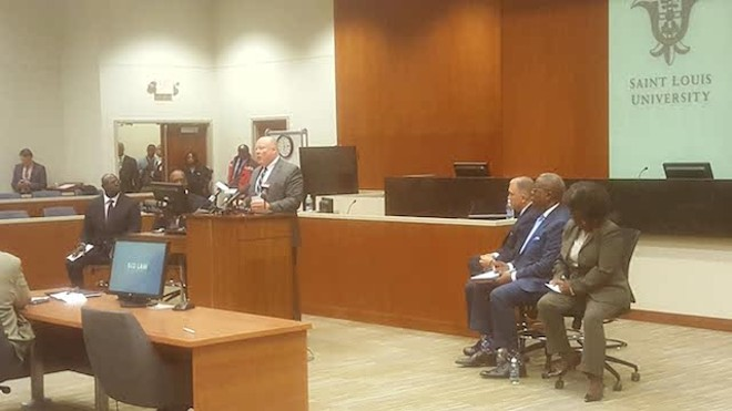 Interim Chief Lawrence O'Toole addresses a forum for the finalists for chief of St. Louis police. - DANNY WICENTOWSKI