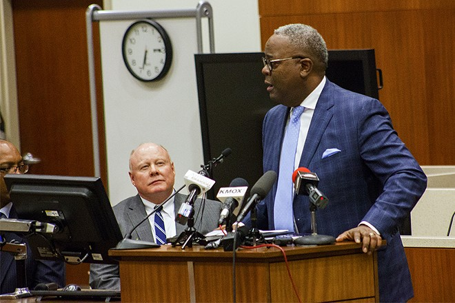 Lawrence O'Toole looks on during the remarks of Keith Humphrey. Both are among the final candidates for St. Louis police chief. - PHOTO BY DANNY WICENTOWSKI