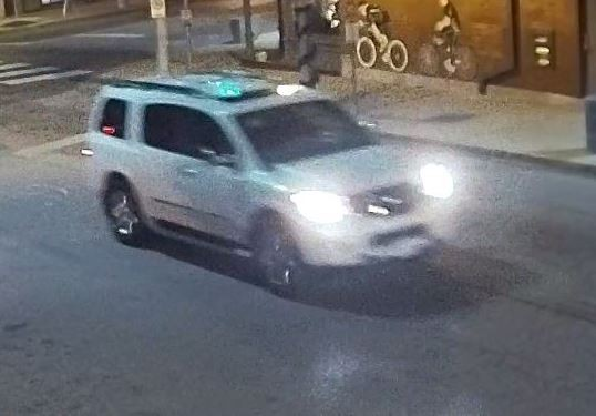 Surveillance footage shows an SUV that police believe may be implicated in a series of restaurant break-ins. - VIA SLMPD