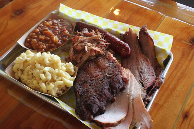 Barbecue choices include brisket, ribs, smoked turkey, hot sausage and pulled pork. - SARAH FENSKE